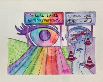 """De'VIA Watercolor Art Print 8.5 x 11 """"Super Eyeway""""   [Second Print]"""