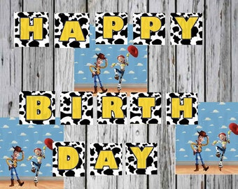 Toy Story Birthday Banner Printable Yellow Black And White Kids Party