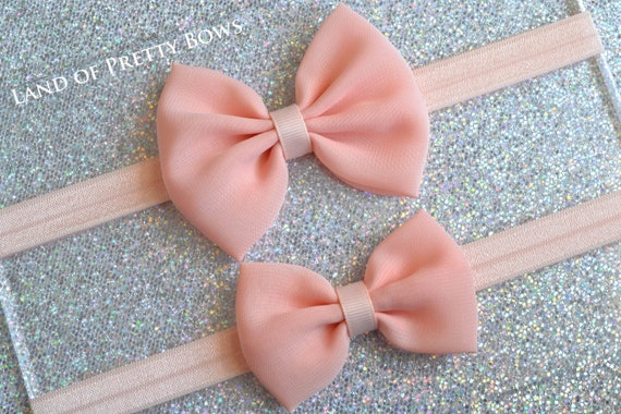 floral hair bow Peach hair bow cake smash prop tie bow newborn headband baby bow flower headband baby headband photo prop