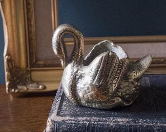 Brass figurine, Vintage brass swan ornament, home decor, living room, animal figure, sculpture, miniature swan, match holder, tiny plant pot