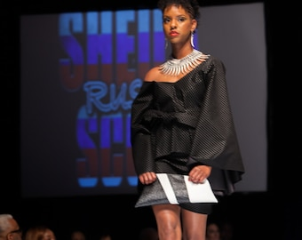 Black Bell Sleeve Top w/ Black Mini Skirt