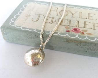 Sweetie Dome Pendant Necklace in Textured Sterling Silver // Free P&P // Gift for her