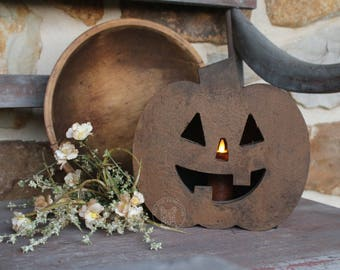 Jack O'Lantern Wooden Pumpkin Box