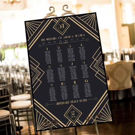 1920's Great Gatsby Wedding Theme Table Plan Table | Etsy