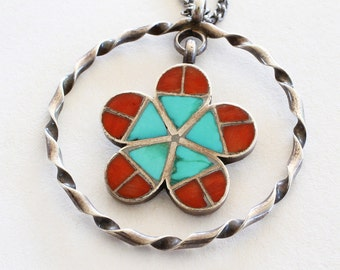SALE: Vintage Southwest Blue Red Turquoise Flower Sterling Silver Pendant And Chain
