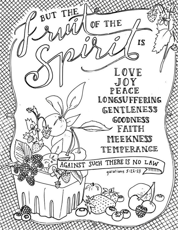 Scripture coloring page adult coloring fruit of spirit | Etsy
