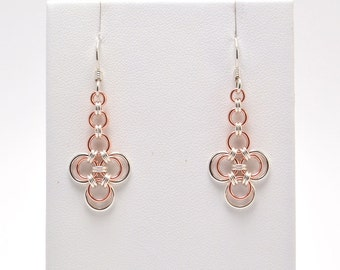 Japanese Earrings in Sterling Silver and Copper