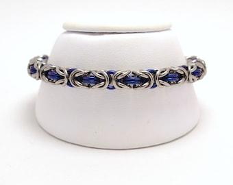 Byzantine Bracelet in Plain and Anodized Niobium