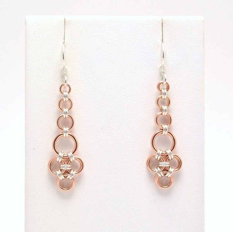 Japanese Earrings in Rose Gold Fill and Sterling Silver