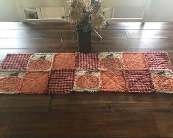 Plaid Homespun PriMiTivE Rag Quilt Table Runner Orange red Farmhouse Pumpkins Rustic Country Handmade Harvest Fall Thanksgiving Halloween