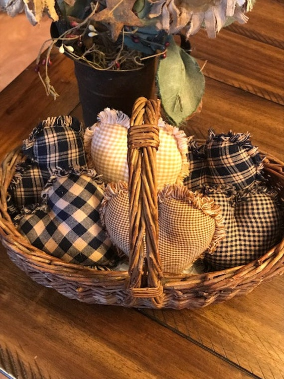 New Farmhouse Plaid Ornies Bowl Fillers Rag PrImITive Stars Red Burgundy Tan 6
