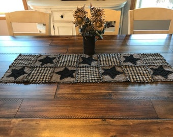 NEW Plaid Homespun PriMiTivE Rag Quilt Table Runner Black Tan Stars Country Handmade Rustic Farmouse Centerpiece Country Mat
