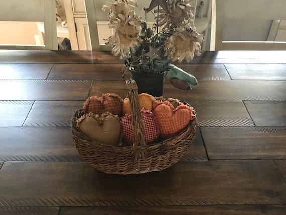 Plaid Ornies Bowl Fillers PrImITive Hearts Pink Tan Pastel Valentine/'s Farmhouse