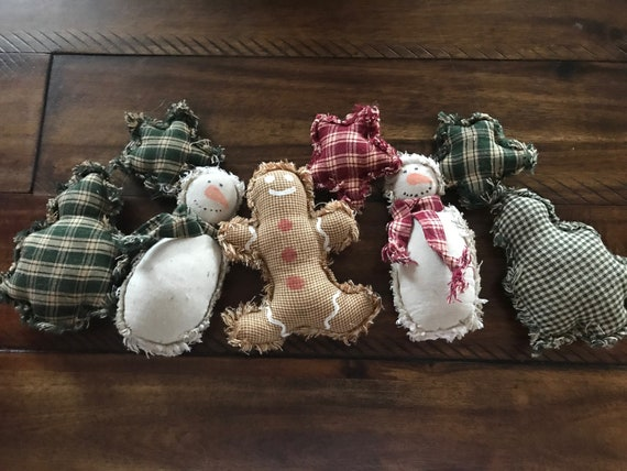 Farmhouse Ornies Bowl Fillers PrImITive Christmas Snowman Snowmen Tan Blue Scarf