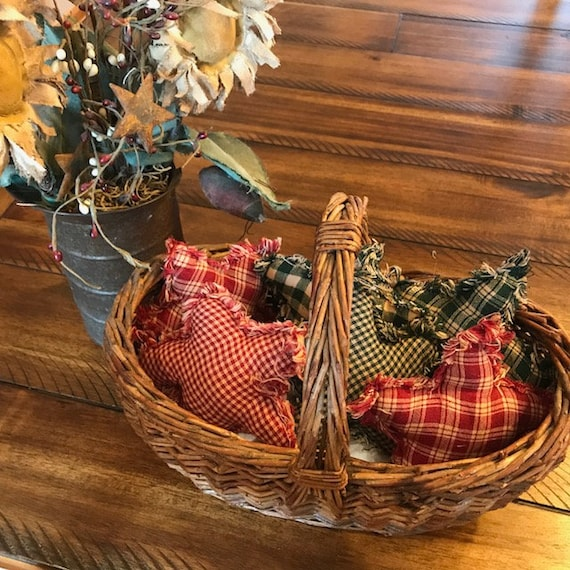 New Farmhouse Plaid Ornies Bowl Fillers Rag PrImITive Stars Green Christmas