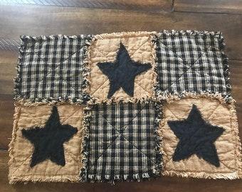 New PriMiTiVe Rag Quilt Homespun Black Brown Tan Mustard Stars Plaid Place mats Placemats Rustic Country Centerpiece