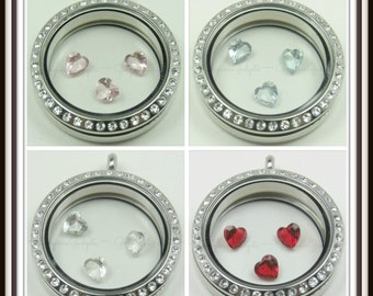 5mm Crystal Heart Floating Charm for Glass Locket / Floating Locket / Memory Locket