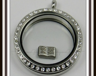 Open Book Floating Charm for Glass Locket / Floating Locket / Memory Locket