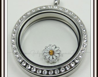 Daisy Floating Charm for Glass Locket / Floating Locket / Memory Locket