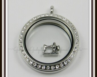Sewing Machine Floating Charm for Glass Locket / Floating Locket / Memory Locket