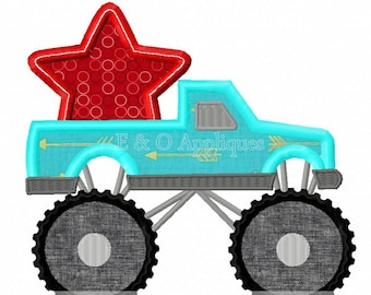 Monster Truck with Star Digital Design - 4th of July Applique Design - Patriotic Machine Embroidery Design