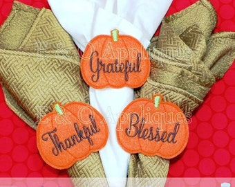 Pumpkin Feltie Napkin Ring Design, Pumpkin Feltie, In The Hoop Embroidery Design, Thanksgiving Feltie, In The Hoop Design, Napkin Ring