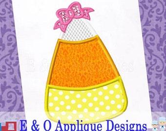 Candy Corn Bow Applique Design - Candy Corn Embroidery Design - Halloween Applique Design