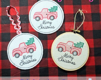 Vintage Truck with Tree ITH Coaster and Ornament Embroidery Design - Digital Download Christmas Truck Embroidery Design