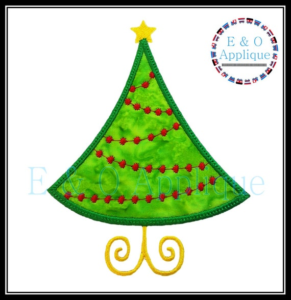 Christmas Tree Applique Design Christmas Embroidery Design Etsy