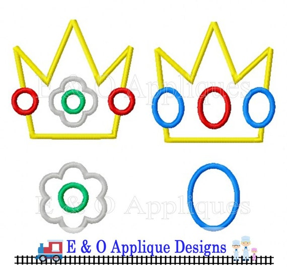 princess crown and gem digital design princess peach etsy