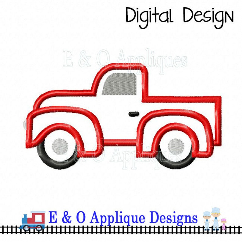 Truck Applique Design Truck Embroidery Design Vintage Etsy