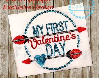 My First Valentine's Day Embroidery Design - Valentine Embroidery Design - 1st Valentine's Embroidery - 1st Valentine's Applique
