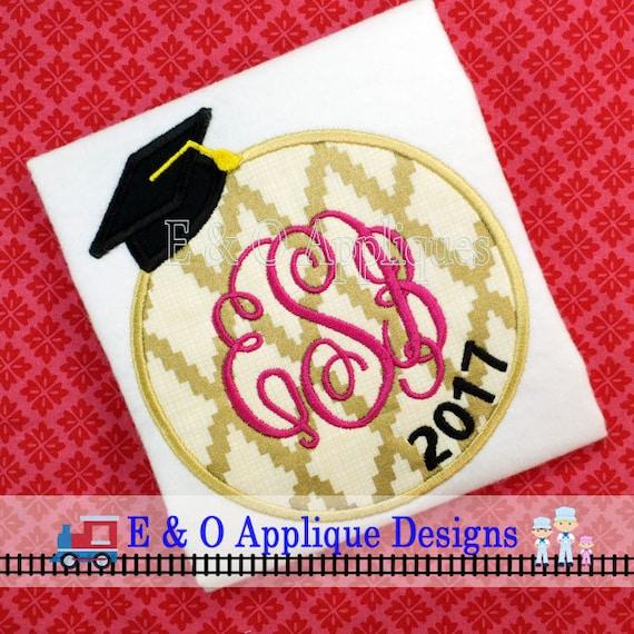 Graduation Monogram Applique Design Graduation Applique | Etsy