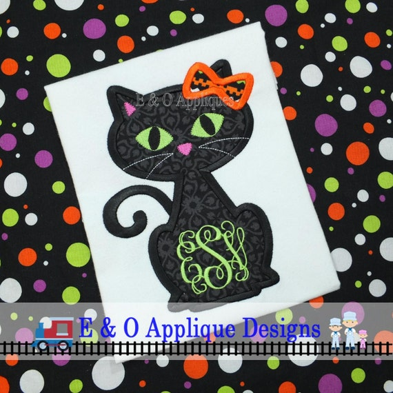 Halloween Cat Applique Halloween Machine Embroidery Design Etsy