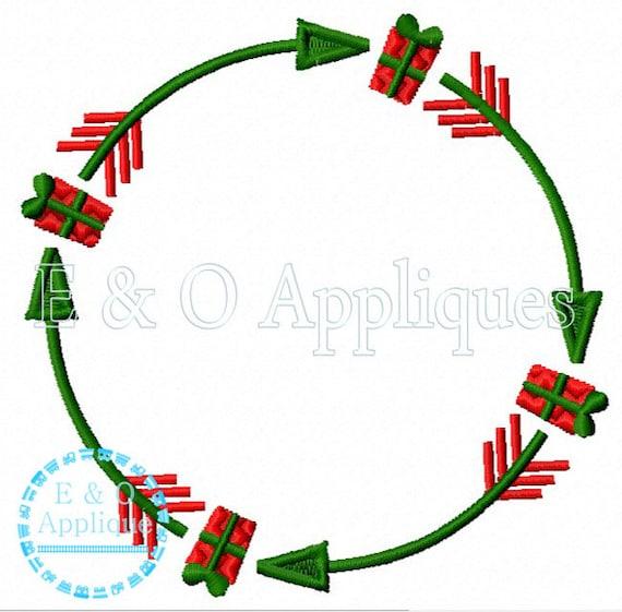Christmas Arrow.Arrow Christmas Present Monogram Frame Embroidery Design Christmas Monogram Embroidery Design Arrow Monogram Embroidery Design