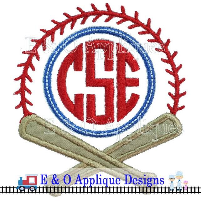 Baseball Monogram Applique Design Baseball Applique Design Etsy