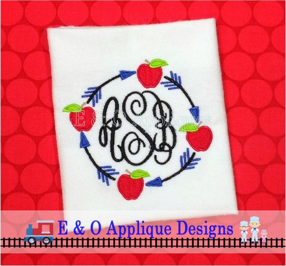 Arrow Apple Monogram Machine Embroidery Design Tribal Etsy