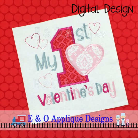 My First Valentine S Day Embroidery Design Etsy