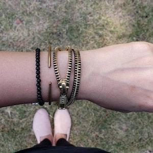 Well Accessorized urban jewelry recycled zipper jewelry DaZy Vintage zipper bracelet daisy bangle bracelet gift for her unique gift