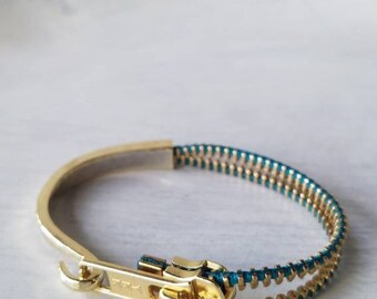 Cuff Bracelet - Zipper Bracelet - Teal - Zipper