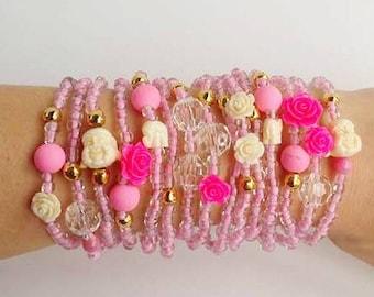 Friendship Bracelets - Boho Chic - Pink Bracelets - bracelet set - stackable bracelets - layering jewelry - pink jewelry - buddha pink rose