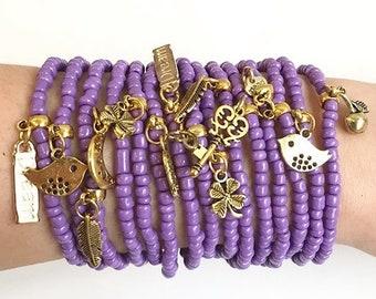 friendship bracelet - bulk Bracelets - Boho Chic - stretch bracelets - layering jewelry - bohemian bracelets - purple charm bracelets - boho