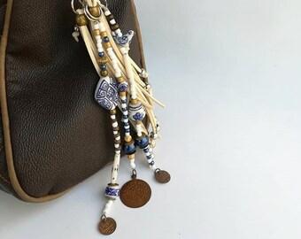 leather tassels for handbags, keychain charm leather, keychain charm, leather fringe, keychain tassel, purse charm, handbag, buddha keychain