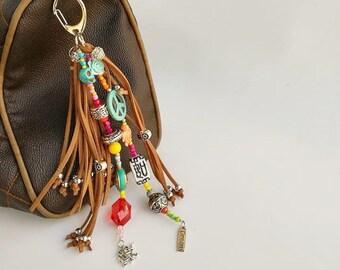 suede zipper pulls boho bag with fringe leather tassel key chain boho keychain keychain charm leather leather tassel purse charm tasseles