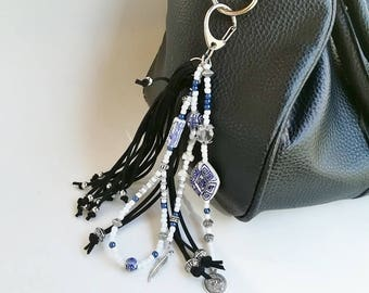 horse keychain, zipper pull, boho keychain, handbags deco, bag charms, leather tassel, leather key chain, fringes keychain, purse charm