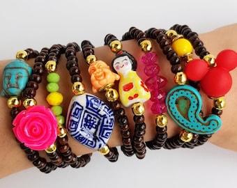 festival bracelets, coachella jewelry, bohemian, boho, summer spring jewelry, wood bracelet, stackable bracelet, wooden beads, bracelet set