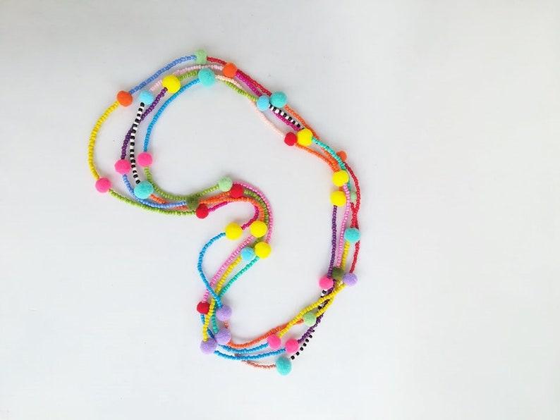 ebf72a265b8 Extra long pom pom necklace pompom ponpon pon pon beaded