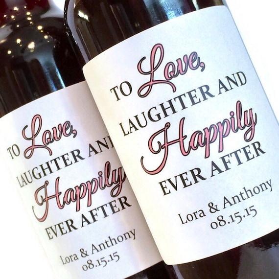 Bridal Shower Or Wedding Favor Mini Wine Labels Love Laughter Etsy