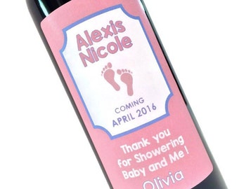 Baby Shower Wine Bottle Labels for Thank You - Footprint wine labels for Mommy to Be to thank Ladies who throw their Baby Shower