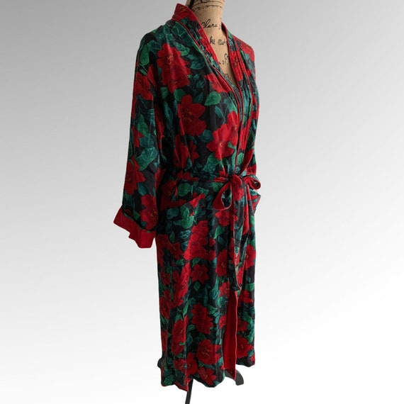 Victorias Secret Bath Robe Floral Terry Wrap Gold… - image 2